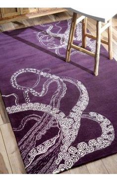 $5 Off when you share! Sierra Octopus Tail Purple Rug | Contemporary Rugs