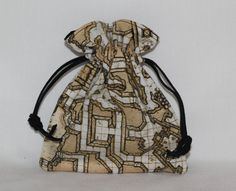 RPG Map Small Drawstring Pouch Bag Dice Bag by RedShirtCreations, $6.95 #rpg #gaming