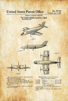 1964 Vanguard Vertical Takeoff And Landing Airplane Patent - Aircraft Decor, Airplane Poster, Airplane Blueprint, Airplane Art, Pilot Gift #patentartgifts