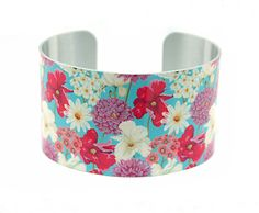 Cuff bracelet, women's jewellery bangle with spring and summer flowers.  C122 £19.50