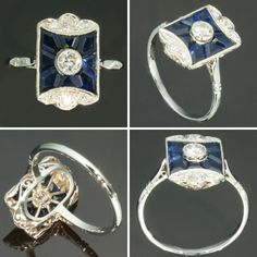 Art Deco Sapphire Diamond Ring Vintage French Jewelry
