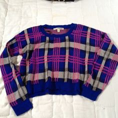 Fun plaid crop top Pink blue grey and black long sleeved crop top, super cute, party, rave, festival style. Say What? Tops Tees - Long Sleeve