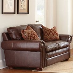 Steve Silver Company Yosemite Leather Loveseat in Chestnut with Two Accent Pillows >>> Visit the image link more details. Note:It is affiliate link to Amazon.