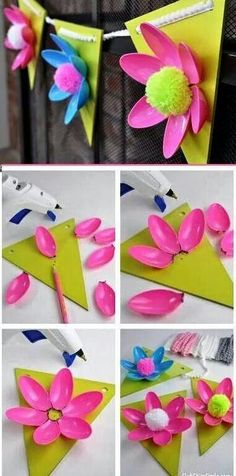 Make a pretty and simple garland with colored plastic spoons and pom poms. Summer Crafts, Diy And Crafts, Crafts For Kids, Arts And Crafts, Trolls Birthday Party, Plastic Spoons, Plastic Bags, Art N Craft, Mothers Day Crafts
