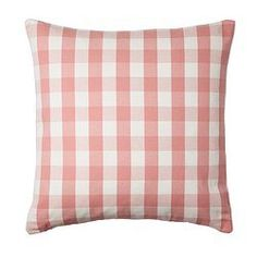 "Ikea Smanate Cushion Cover Pink & White Checkered Design with Zipper 20 X 20"" 100% Cotton"