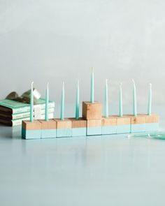 Simple color-blocked menorah made with wooden blocks, by Martha Stewart
