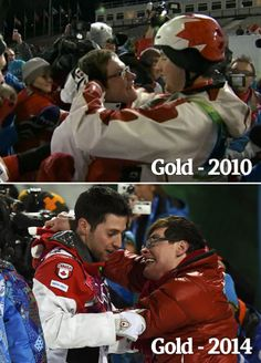 Moguls skier Alexandre Bilodeau celebrates his gold medal in 2010 and again in 2014 with his brother Frédéric, who has cerebral palsy. I Am Canadian, Canadian History, What's True Love, My Love, Vancouver, Good News Stories, Olympic Gold Medals, O Canada, Faith In Humanity Restored