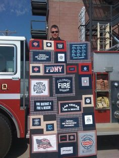 Bj's Firefighting T-Shirt Quilt for his station bed with Colorado Springs Fire Department. Shirts from firefighter friends and relatives on the job.