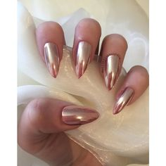 Rose gold stiletto chrome false nails ($12) ❤ liked on Polyvore featuring beauty products, nail care and nail treatments