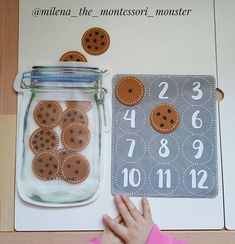 Cookie Counting (by Lusi Dural, Milena the Montessori Monst Toddler Quiet Book Page - Learn to Count Cookies kindergarten math - sandrine escoffier - This Preschool Learning Activities, Infant Activities, Preschool Activities, Teaching Kids, Kindergarten Math, Diy Learning Toys, Preschool Weather, Montessori Preschool, Preschool Curriculum