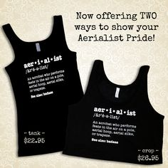 We have had a ton of requests for the Aerialist Definition in a different style top. We now offer it in both CROP and TANK tops!