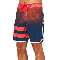 Hurley Board Shorts - Hurley Phantom Block Party Hyperweave Warp Board Shorts - Bright Crimson
