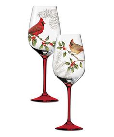 Set the holiday table with style. This gorgeous, hand-painted wine glass set is equally suited to special tastings and family celebrations.