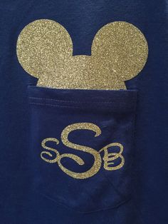 Super cute Mickey Mouse Ears pocket tee! These tshirts are light, comfortable and can be customized to fit your familys need. Whether it be for