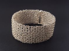 Crocheted bracelet made of pure silver wire