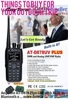 AnyTone AT-D878 Plus GPS with Built-in Bluetooth and Free Items !! Updated firmware Upgraded 3100mAh Battery Dual Band DMR/Analog 144 and 480 MHz Radio … (This is an affiliate link) #campinggadgets