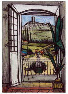 Bernard Buffet - Open Window on the Fountain, 1987