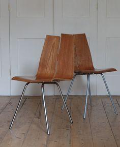 Hans Bellmann; #GA Veneered Plywood Chairs for Horgen Glarus, 1955.