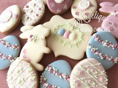 Gorgeous decorated Easter bunny and Easter Egg frosted cookies!