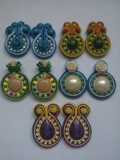 Soutache Necklace, Earrings, Handmade Beaded Jewelry, Beach Crafts, Pattern, Soutache Jewelry, Small Earrings, Bangle Bracelets, Beading