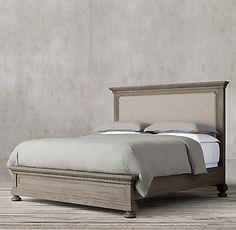 St. James Upholstered Bed Collection Antiqued Grey Oak   RH