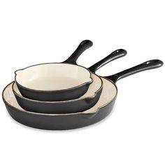 Set of 3 Enameled Cast Iron Skillets Enameled Cast Iron Skillet, Cast Iron Skillet Set, Enameled Cast Iron Cookware, Ceramic Stove Top, Black Toaster, Best Skillet, Square Dinnerware Set, It Cast