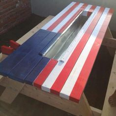 My brother's a genius....American flag picnic table with beer trough