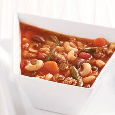 Lightened-Up Pasta Fagioli Soup from Cindie Kitchin, Grants Pass, Oregon - Healthy Cooking magazine
