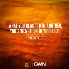 What you react to in another, you strengthen in yourself. — Eckhart Tolle