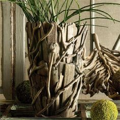 Driftwood Vase. Unique and chic. Carefully selected bits of natural driftwood are nailed together to form our Driftwood Vase. From the Driftwood Collection at SeasideInspired.com