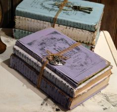 Private Listing for Maureen- Do not Buy, Vintage Book Bundle - Lavender - French Script - Distressed, Painted