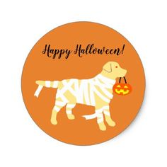 Halloween Yellow Labrador Mummy Stickers - craft supplies diy custom design supply special