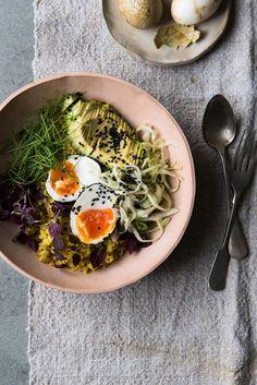Cabbage 1/2, quinoa, avocado, egg, salt, pepper, coriander, turmeric, carraway, green chili, black sesame seeds, ginger, cilantro, white vinegar, honey, olive oil, lemon.