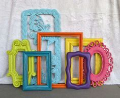 Reserved for Jessica.Bright Painted Frames & Mirror Set of 7 - Upcycled frames. great for Gallery Wall or Teen Girl Kids Bedroom Diy Room Decor, Bedroom Decor, Bedroom Ideas, Bedroom Wall, Idee Diy, Mirror Set, Big Girl Rooms, My New Room, Painting Frames