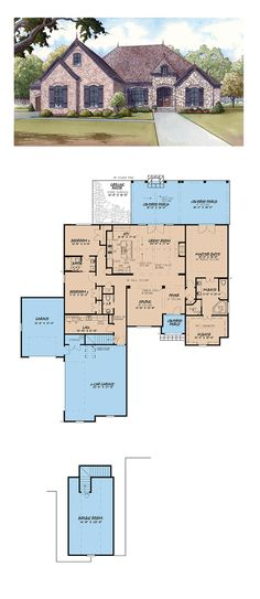 French Country House Plan 82408 | Total Living Area: 2428 SQ FT, 3 bedrooms and 2.5 bathrooms. #frenchcountryhome