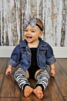 babykleidung mädchen jeansjacke zebra muster haarband