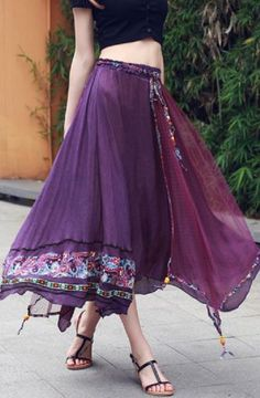 Love Love LOVE this Bohemian Style Skirt! In Purple or Wine! Love them both…