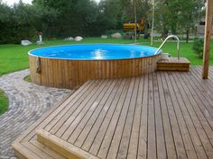 Above Ground Pool Landscaping, Above Ground Pool Decks, Above Ground Swimming Pools, In Ground Pools, Backyard Pool Designs, Patio Design, Backyard Patio, Oberirdische Pools, Pool Deck Plans