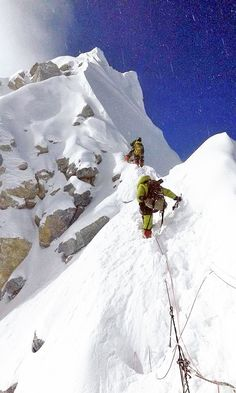 Mountaineers heading towards the summit of Mount Everest, on Thursday, May 12, 2016. Courtesy: Arnold Coster