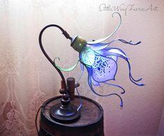 Silk Flower and Faerie Lights — Little Wing Faerie Art Flower Lamp, Flower Lights, Fairy Lights, Butterfly Lamp, Lampe Art Deco, Lampe Applique, Fairy Lamp, Silk Flower Arrangements, Gothic Home Decor