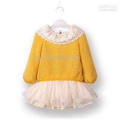 Wholesale Baby girls sweater tutu lace yellow dress crochet tops pettiskirt kids girl spring autumn dresses, $21.95-24.64/Piece | DHgate