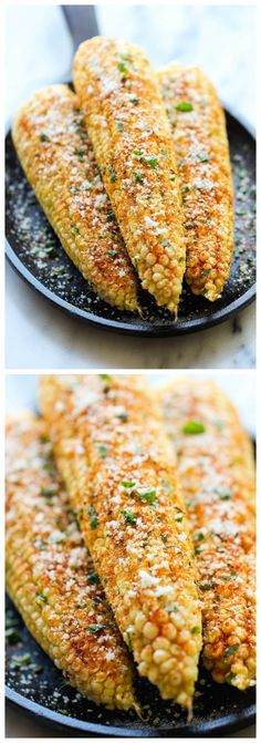 Mexican Corn on the Cob - This is the best way to serve corn, brushed with melted butter and sprinkled with chili powder, cheese and lime juice!