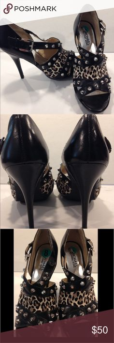 Michael Kors calf hair studded heels Michael Kors calf hair studded heels. Beautiful, sexy, hardly worn MK heels.  Studded around and animal print calf hair on front.  Silver adjustable buckles. These have virtually no wear to them at all. MICHAEL Michael Kors Shoes Heels