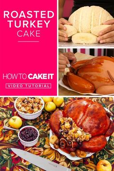Roasted Turkey Cake | This realistic cake would be the perfect thing to set at Thanksgiving, Christmas, or Sunday dinner! Place on the table, and watch as your guests jaws drop when they realize their turkey dinner is cake! | How To Cake It #Baking #Thanksgiving #Cake