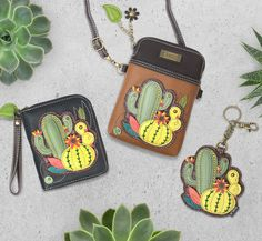Cactus Collection by Chala Handbags: Zip-Around Wallet, Key Fob and Cell Phone Xbody Wallets, Cactus, Zip Around Wallet, Succulents, Coin Purse, Key, Handbags, Purses, Phone