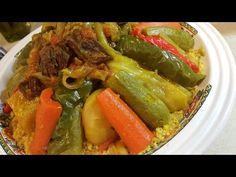 الكسكس المغربي بالخضار واللحم - YouTube