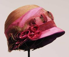 1920s Dusty Pink Straw Cloche
