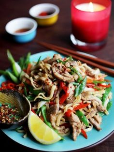 Drunken Chicken Noodles : Recipes : Cooking Channel - This is delicious! I love the addition of rice wine vinegar. Yum :) I will be making this often, and it's quick. Chicken Noodle Recipes, Chicken Thigh Recipes, Chicken Noodles, Asian Noodles, Chicken Thighs Dinner, Chicken Breasts, Asian Recipes, Ethnic Recipes, Oriental Recipes
