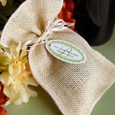 Natural Burlap Favor Pouches by Beau-coup