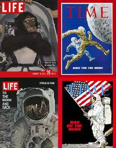 """Life & Time Magazine """"Space Race""""between the United States and Soviet Union covers, 1957-1969"""